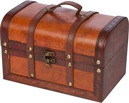 Trademark Innovations Small Wood and Leather Decorative Ches