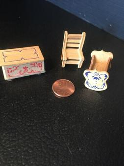 B23) Miniature Unfinished Wood Nursery Baby Cradle, Chair &