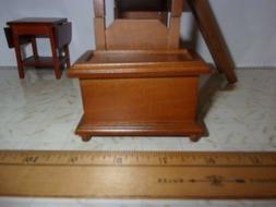 SMALL WALNUT TRUNK/TOY CHEST  -  DOLL HOUSE MINIATURE