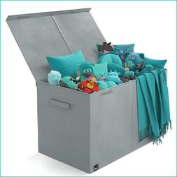 Toy Chest - 2 Bin Collapsible Storage Organizer with Lid for