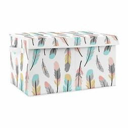 Turquoise Coral Boho Feather Baby Girl Nursery Fabric Toy Bi