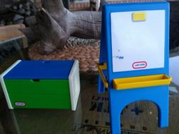 Vintage Little Tikes Dollhouse double-sided easel & toy box