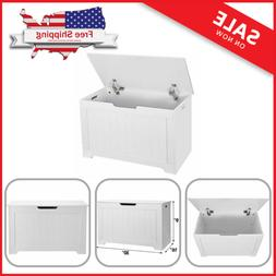 White 2 Safety Hinge Wooden Toy Box Lift Top Entryway Storag